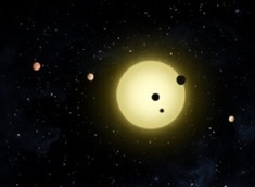 Six confirmed planets orbit Kepler-11, a sun-like star. Image by NASA/Tim Pyle