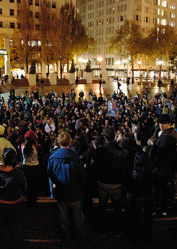 Pioneer Courthouse Square during an Obama victory rally in 2008. (Creative Commons)