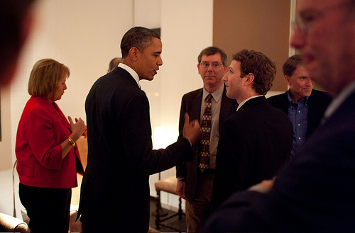 Obama and Facebook CEO Mark Zuckerberg at a Bay Area dinner in February. (White House)