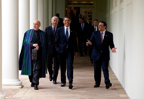 Afghan President Hamid Karzai, Obama and Zardari in May 2009. (The White House)