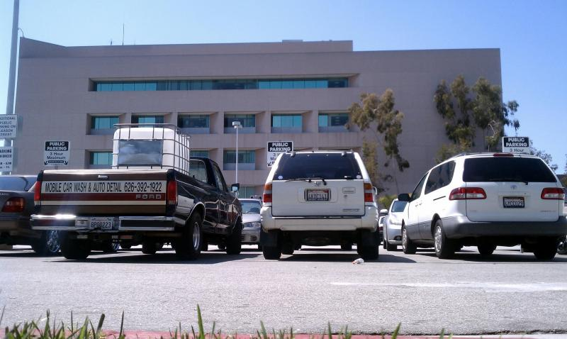 The parking lot is full at East L.A.'s superior courthouse (Ryan Faughnder)