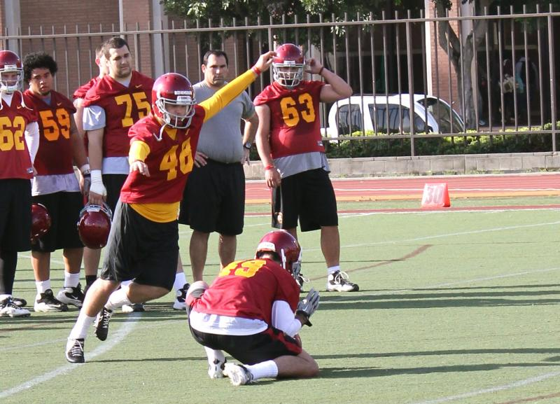 Freshman Andre Heidari is already showing range that has not been seen on the USC practice fields in recent memory. (Shotgun Spratling)