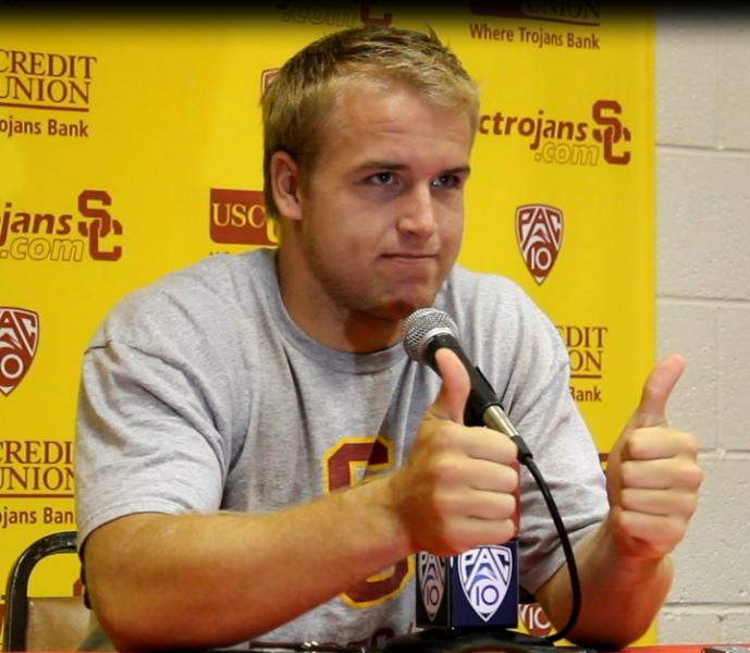 Matt Barkley gives a sarcastic thumbs up after USC's loss to Washington (Shotgun Spratling/Neon Tommy)
