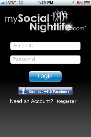 Main page of MySocialNightlife's iPhone App. Photo courtesy of Artin Nazarian