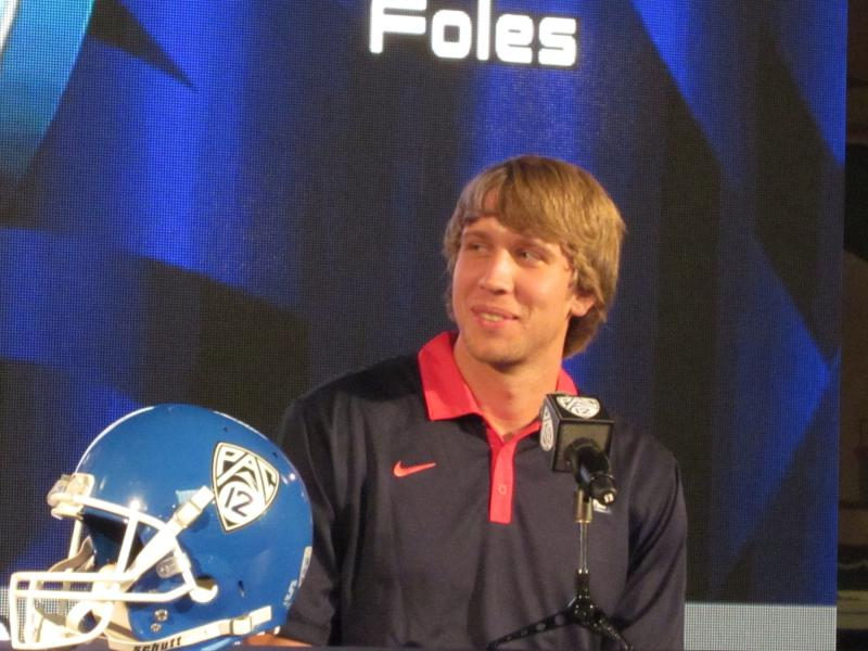 Arizona QB Foles fields media queries with a smile. (Kate Rooney/Neon Tommy)