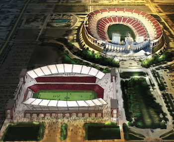 A very preliminary concept drawing of what the soccer stadium may look like.