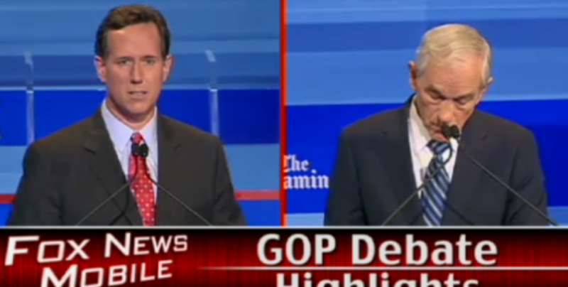 Santorum and Paul clash over Iranian nuclear ambitions during the Iowa debate. (Courtesy of Fox News)