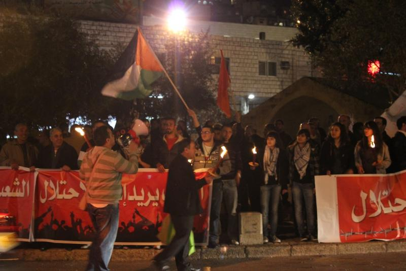 Palestinian Arab Israelis rally for the cooperation of Hamas and Fatah in Nazareth, Israel (Photo Mary Slosson)