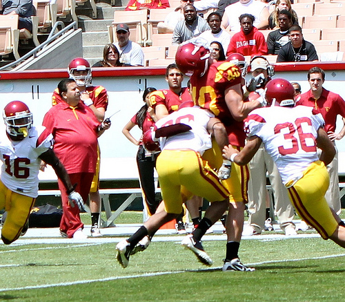 It's only spring, but the USC defense is already out for blood in 2011. (Shotgun Spratling)