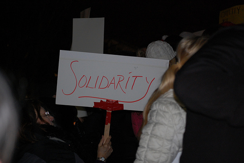 Teachers strike in Madison, Wisconsin.  Courtesy Creative Commons.