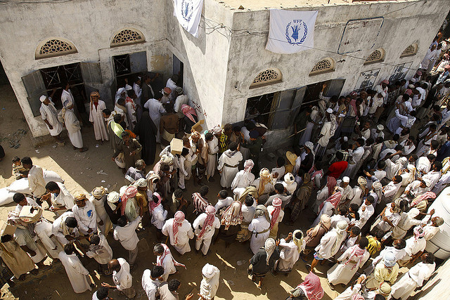 Citizens of Yemen awaiting food aid in 2008 (Photo Courtesy IRIN)