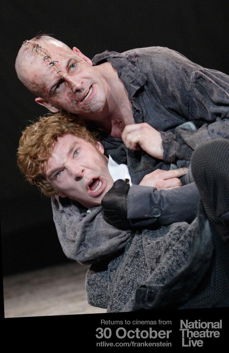 Benedict Cumberbatch as Frankenstein and Johnny Miller as the Creature. (@ntlive/Twitter)