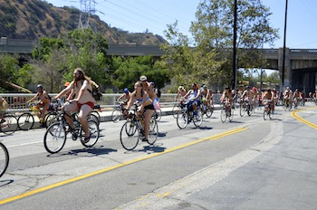 Naked bikers take to the streets (Sara Newman/ Neon Tommy)