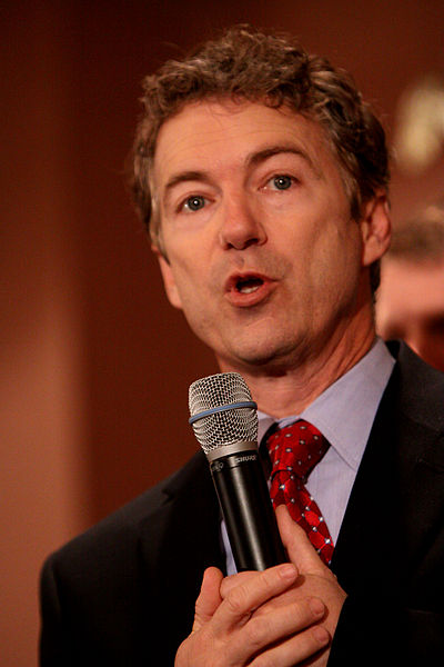 Rand Paul speaking to supporters at a townhall in Meredith, New Hampshire. (Wikipedia Commons)