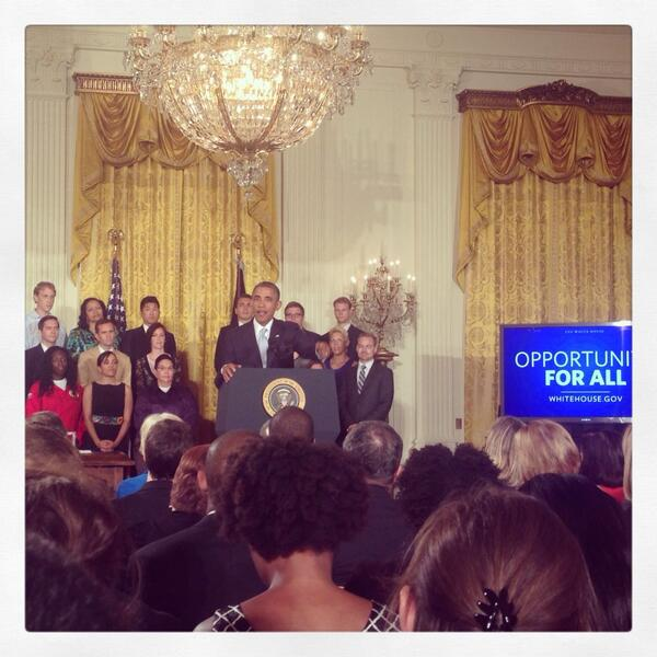 President Obama's press conference about making student loans more affordable. (Twitter/@rosical)