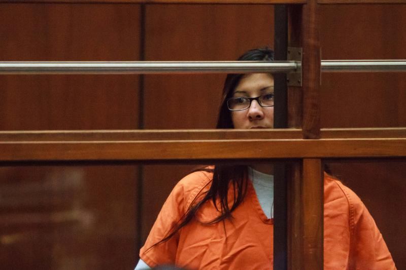 Alejandra Guerrero, charged with killing USC graduate student Xinran Ji, looks on as Judge Renee Korn discusses preliminary hearing procedures on 12/12/14 (Benjamin Dunn/Neon Tommy).