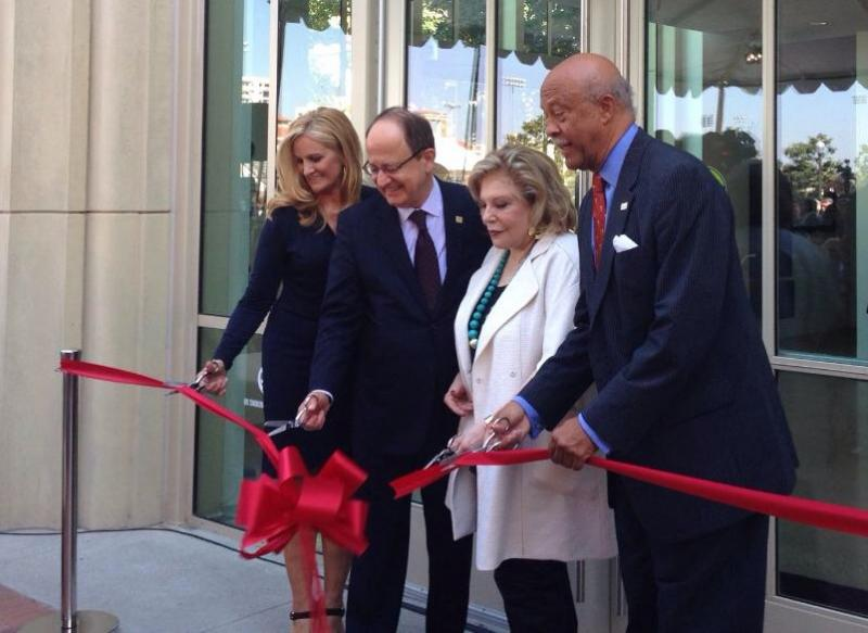 The ribbon is finally cut for the new Wallis Annenberg Hall. (Kopal Khanna/Neon Tommy)