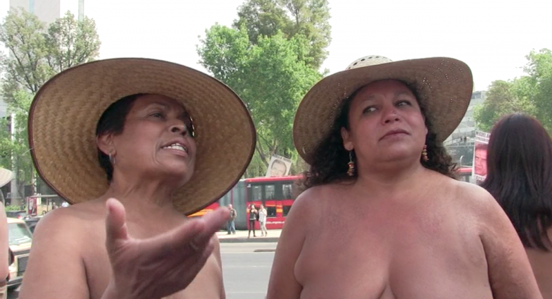 Alfonsina Sandoval Urbina and Judith Romero Sanabia of the 400 Pueblos Movement talk about their reasons for protesting topless in Mexico.(Photo courtesy of Anthony Alvarez)