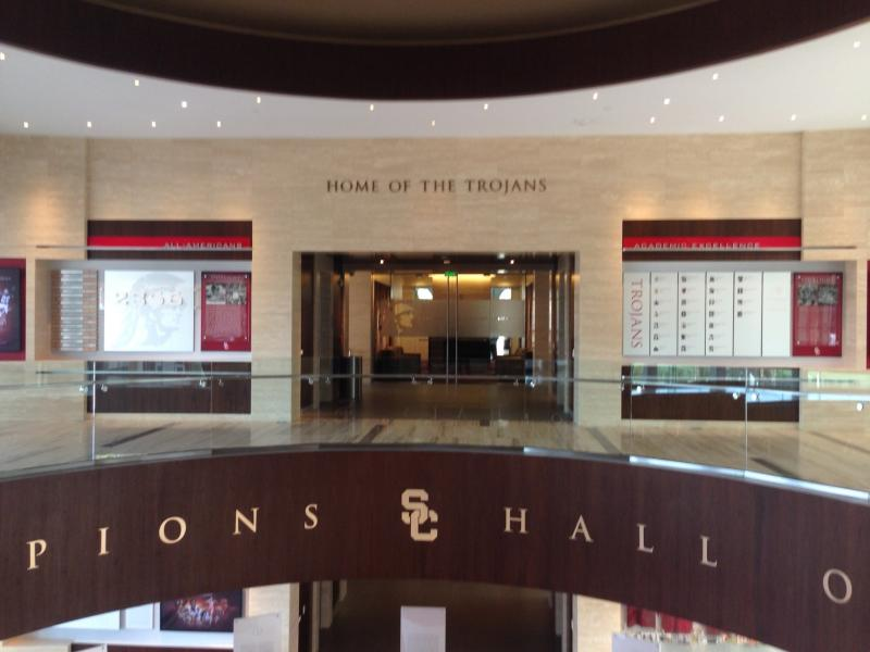 The Pat C. Haden Hall of Champions features a who's-who of USC sporting history. (Arash Zandi/Neon Tommy)