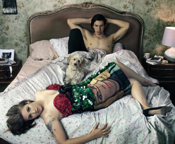 "Lena Dunham and Adam Driver in the ""Vogue"" cover spread (Twitter @WashingtonPost)."