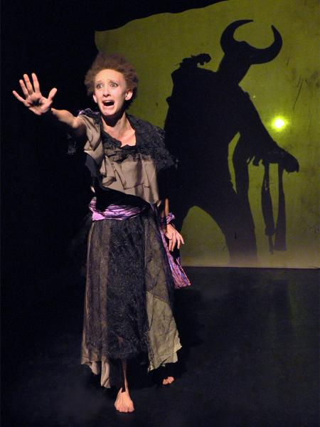 Maya Eshet (left) and Steve Peterson (silhouette) in