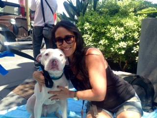 Wags and Walks founder Lesley Brog with Anderson (Mona Khalifeh / Neon Tommy)