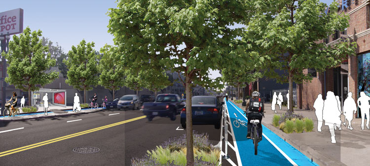A rendering of the project showing improved bus stops, widened sidewalks, new trees, more on-street parking, and a cycle track. (My Figueroa Project)