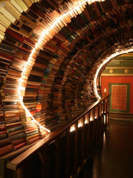 The Last Bookstore's second floor is called the Labyrinth, and it features a tunnel made entirely of books (Tumblr).