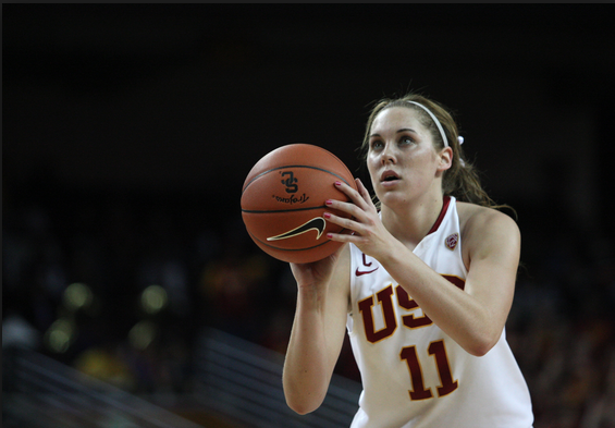 Cassie Harberts is now USC's ninth all-time scorer. (Kevin Tsukii/Neon Tommy)