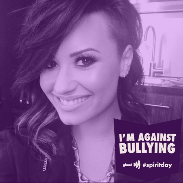 """Let's show LGBT youth we've got their backs. Stand up against bullying for #spiritday!"" Demi Lovato tweeted on Oct. 16."