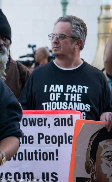 RCP supporter Keith James at a protest. (Photo by Daren Mooko)