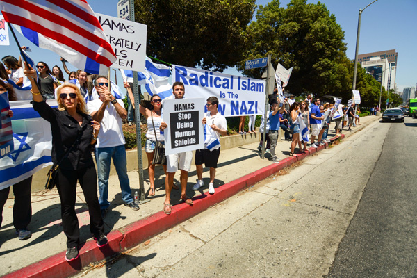 Pro Israeli demonstrators line the northern side of Wilshire Boulevard. (Matthew Tinoco/Neon Tommy)