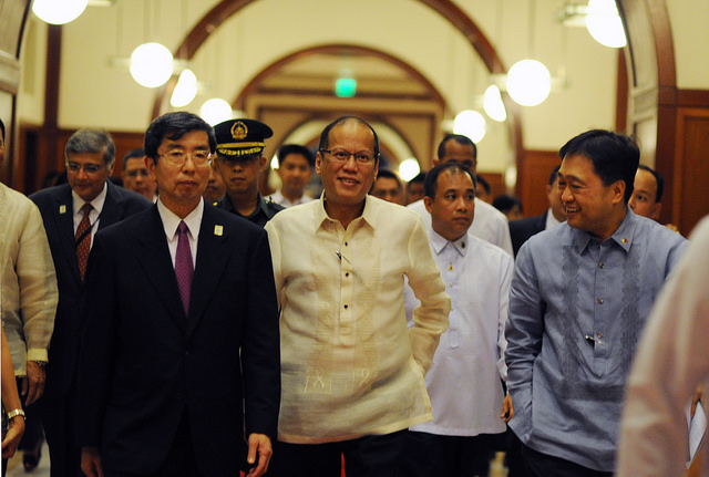 Philippine President Aquino, center, is expected to attend back-to-back international conferences over the weekend. (Asian Development Bank/Creative Commons)