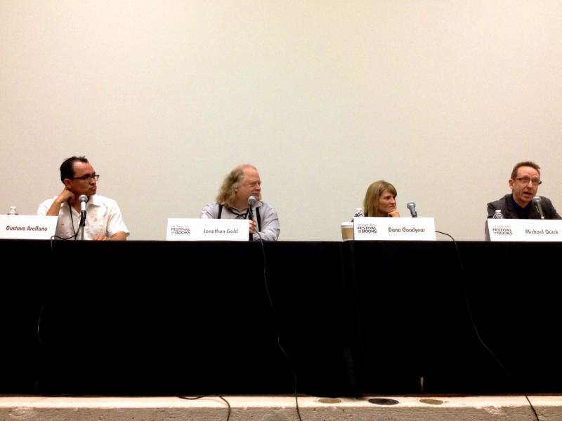 Panelists (left to right) Gustavo Arellano, Jonathan Gold and Dana Goodyear with moderator Michael Quick (Helen Carefoot/Neon Tommy).