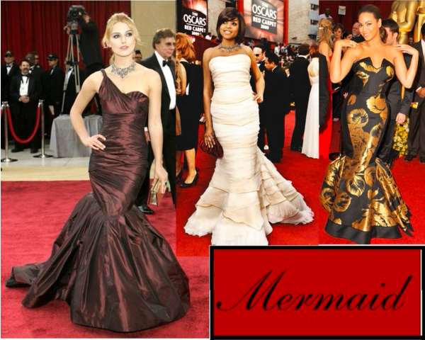 Keira Knightley (Tumblr/alice-fernandez), Taraji P. Henson (Tumblr/inquisitiveg), and Beyoncé (Tumblr/thequeenebey) in mermaid cut gowns.