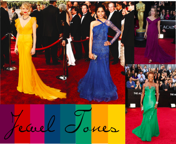 Michelle Williams (Tumblr/monicabbm22), Freida Pinto (Tumblr/inquisitiveg), Natalie Portman (Tumblr/szabolcseszes), and Viola Davis (Tumblr/omgthatdress).
