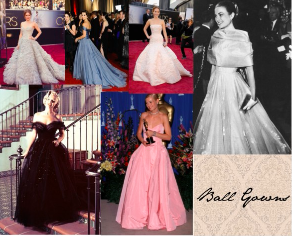 Amy Adams (Tumblr/notagingeryet), Penelope Cruz (Tumblr/itsawardsseasonbitch), Jennifer Lawrence (Tumblr/illustratedjade), Grace Kelly (Tumblr/inquisitiveg), Gwyneth Paltrow (Tumblr/alice-fernandez), and Marilyn Monroe (Tumblr/theniftyfifties) sporting ball gowns.