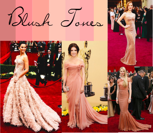 Jessica Chastain, Gwyneth Paltrow, Anna Kendrick, and Penelope Cruz wearing gowns in blush tones (Tumblr/inquisitiveg).