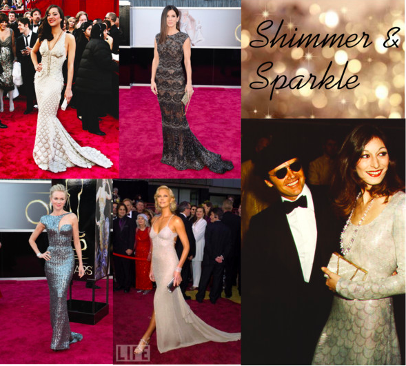 Marion Cotillard (Tumblr/inquisitiveg), Sandra Bullock (Tumblr/fashioningdaydreams), Anjelica Huston (Tumblr/inquisitiveg), Charlize Theron (Tumblr/Nina Garcia), and Naomi Watts (Tumblr/omgthatdress) stun in sparkling dresses.