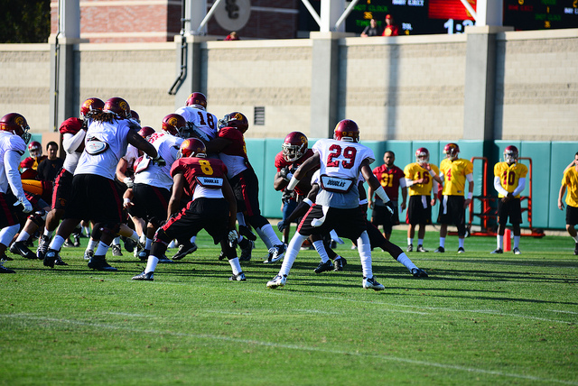 Defense dominated in Saturday's spring game, much like they have been during practices. (Neon Tommy/Charlie Magovern)