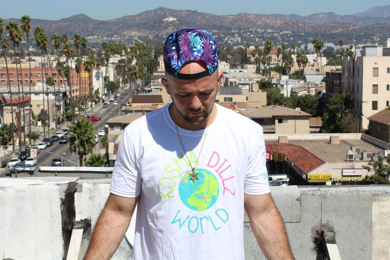 Rapper Kosha Dillz on the roof of his Koreatown apartment on Rosh Hashanah, September 25, 2014 (Taylor Haney/Neon Tommy)