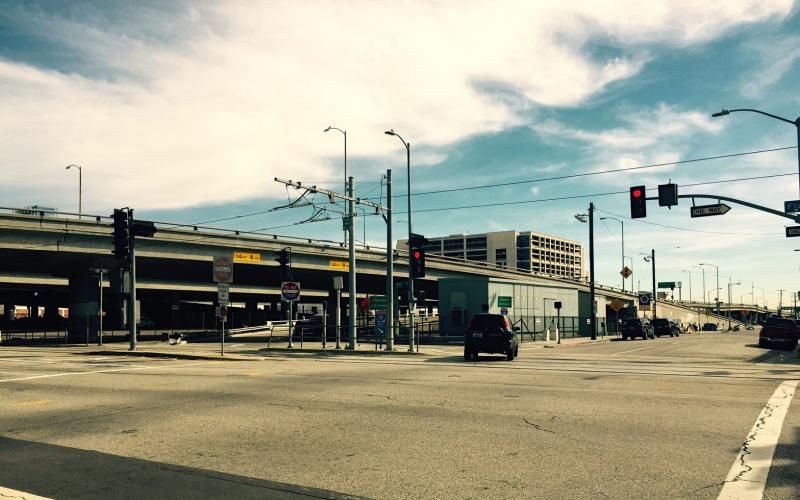 The intersection at 18th St. and Flower St. (Daniel Jimenez/Neon Tommy)