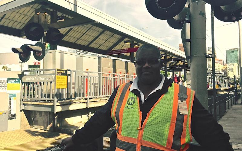 Metro Safety Ambassador Fredrick Williams at his Pico Station post. (Daniel Jimenez/Neon Tommy)