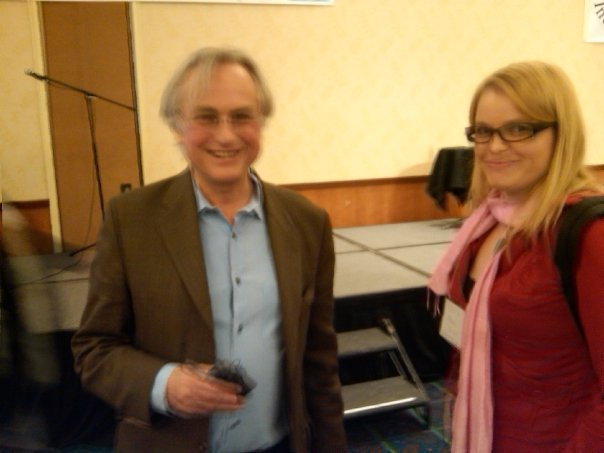Me meeting Richard Dawkins in Burbank, CA. The camera operator is obviously really excited, too. (Carrie Poppy / Neon Tommy)