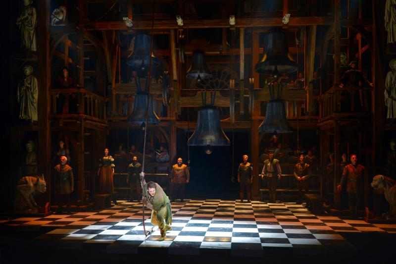 "Michael Arden as Quasimodo with the cast of ""The Hunchback of Notre Dame"" (Kevin Berne/La Jolla Playhouse)"