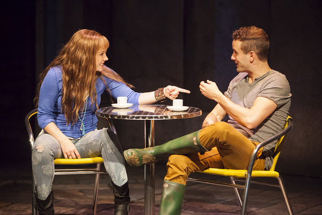 Sylvie (Lenne Klingaman) and Marco (Nick Mills) chat about love over coffee (Photo by Jennifer M. Koskinen)