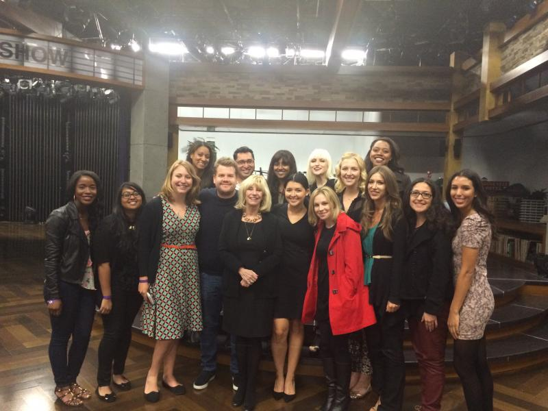 Graduate students from Mary Murphy's class at USC Annenberg with James Corden (Photo courtesy of Myah Williams).