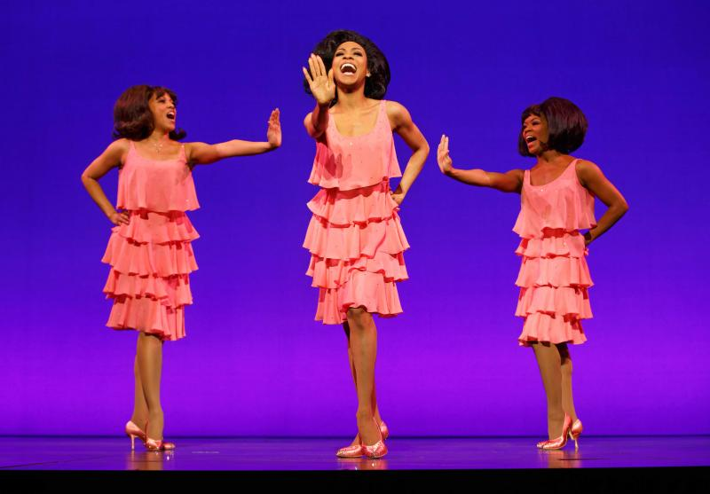 Diana Ross (Allison Semmes) leads the Supremes (Photo by Joan Marcus)