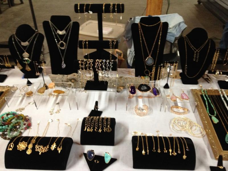 Hicks displays her collection of jewelry at the farmer's market (Wilma and Ethel/Facebook)