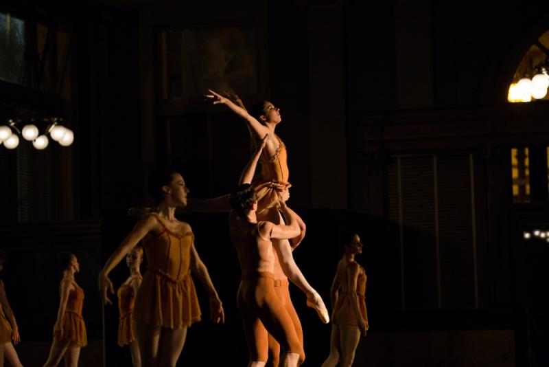"Lauryn Winterhalder (center) with ensemble in ""Autumn"" (Photo by Ryan Young)"